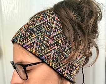Dread tube/ bun beanie with Ethno rainbow print and fleece lining, winter beanie for dreadlocks - perfect for festivals