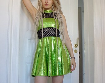Festival Glitter Dress with net, green skater dress with sewed on circle skirt size S/M