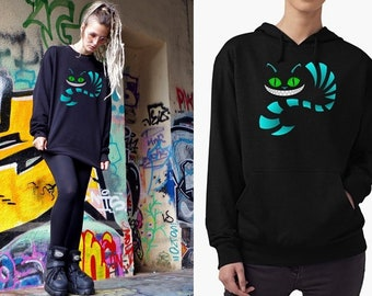 Cheshire Cat Psychedelic sweatshirt or hoodie, UNISEX - vegan, Goa Psytrance Festival Style, Movie Merchandise