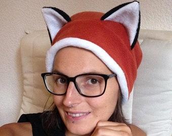 Fox beanie with foxears, winter fleece headwear, dreadlocks, festival wear, halloween
