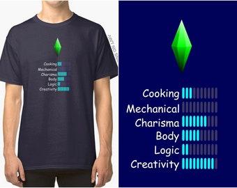 The sims1 T-shirt UNISEX, sims gaming shirt with skills and plumbob, birthday gift, christmas