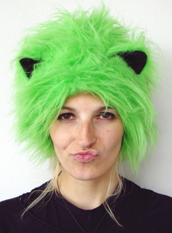 bun beanie with cat ears Festival hat dreadhat dreadbeanie Furry Halloween CATWRAP