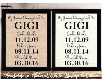 Christmas Gift for GIGI, Personalized Gift for Gigi, Christmas Gift Idea, My Greatest Blessings Call Me Gigi Sign, Family Dates, Gigi Gift