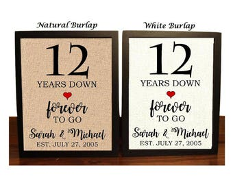 12th Wedding Anniversary Champagne Bottle Label Gift for Couple 12 Years Wine