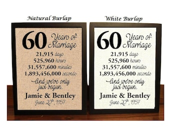 60th Anniversary | 60 Year Anniversary | 60th Anniversary Gift | 60 Years Together | 60th Anniversary gift her | Minutes | Seconds | Hours