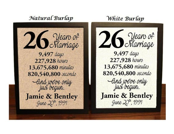 26th Wedding Anniversary 26 Year Wedding Anniversary 26th Etsy