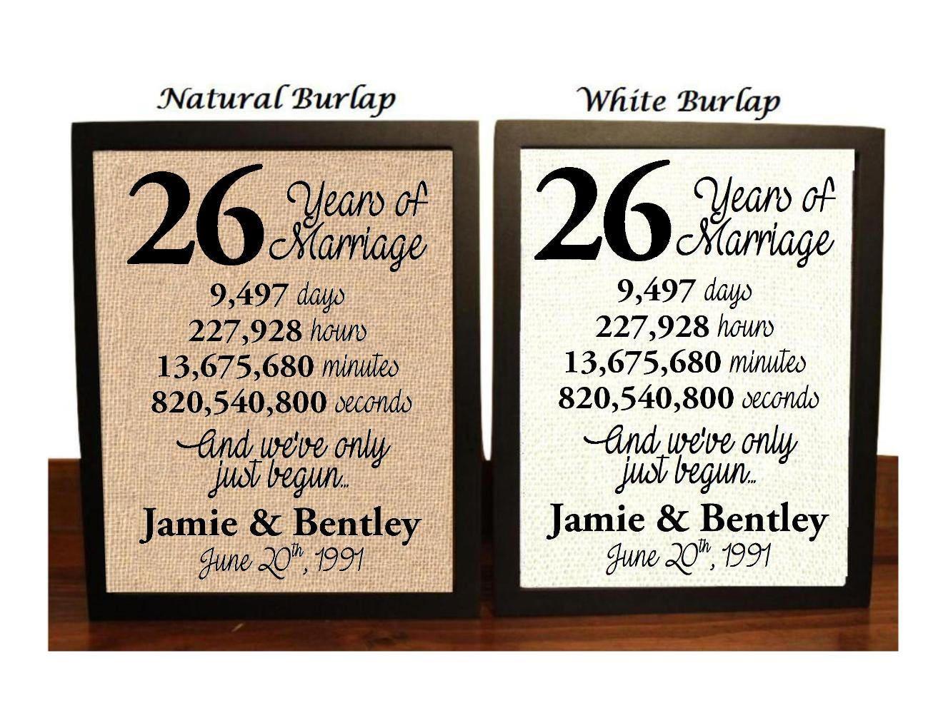 26th Wedding Anniversary Gift: 26th Wedding Anniversary 26 Year Wedding Anniversary 26th
