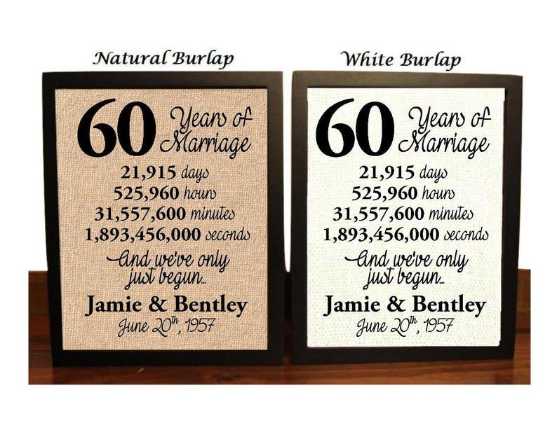 60Th Anniversary Gifts >> 60th Anniversary 60 Year Anniversary 60th Anniversary Gift Etsy
