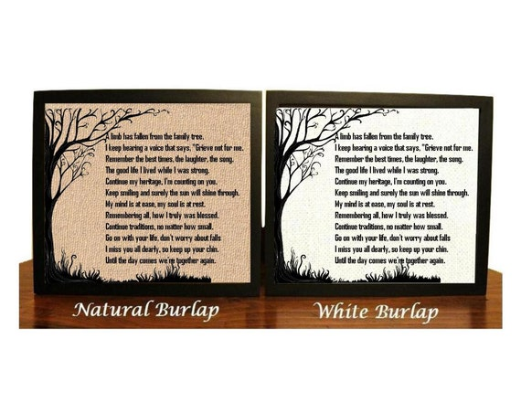 Memorial Quote Burlap Print Mom Dad Son Daughter Grandma Etsy