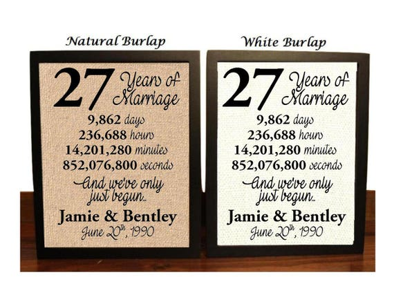 28th Wedding Anniversary Gift: 27th Wedding Anniversary 27 Year Wedding Anniversary 27th