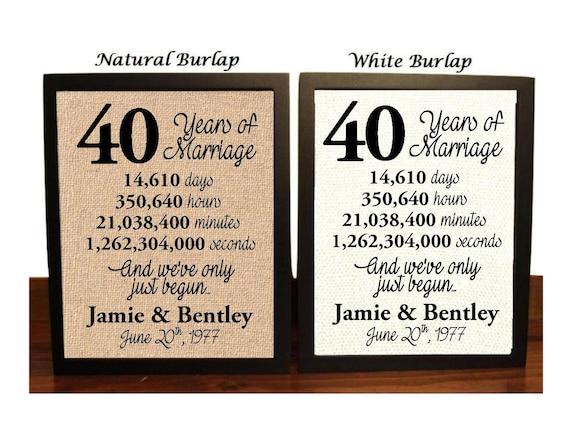 40th Wedding Anniversary 40 Year Wedding Anniversary 40th Etsy