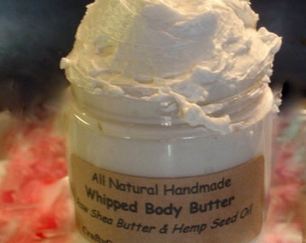 Raw Whipped Shea Butter, 12 oz or 16 oz Jar with Hemp Oil, Organic Natural Unrefined, African Body Butter - Priority Shipping to USA only