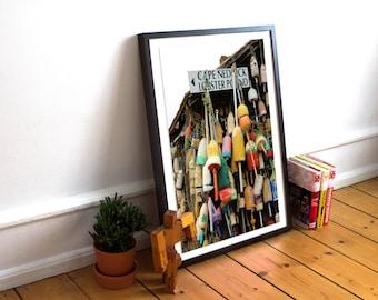 lobster buoys, cape neddick lobster pound, cape neddick, maine, new england, nautical, fishermen, photograph, fine art print