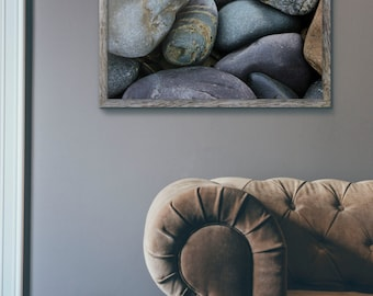 polished stones, beach rocks, beach pebbles, rocky beach, york, maine, prebbles point, natural art, new england photography, fine art print
