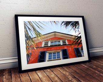 historic charleston, architecture, orange, low country, southern, south carolina, photography, travel photography, fine art print