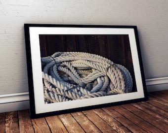 rope, nautical, salem maritime national historic site, massachusetts, new england, photography, fine art print