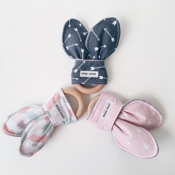 Geometric Wooden /& Printed Cloth Bunny Ear Teether With Minky Fabric