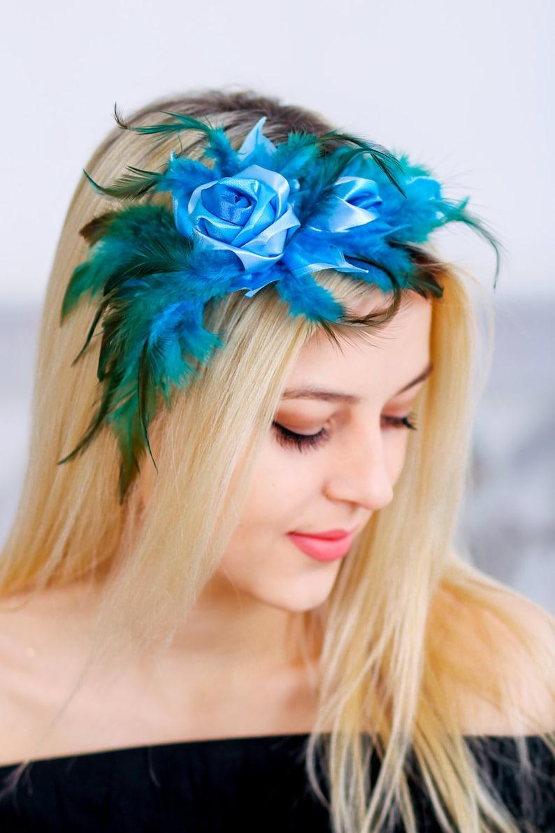 9ab9887588237 Blue feather fascinatorbridal headpieceFlapper | Etsy