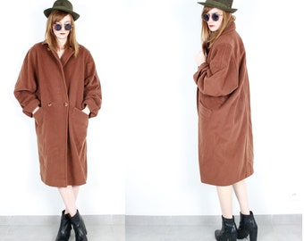 French Vintage 80's Rust Tan Brown long wool coat / Minimalist duster puff boyfriend overcoat oversized 1980s 90s Size Small medium