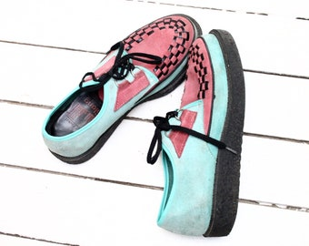 d8472b1fa774 1995 Creepers Platform lace up flat sneakers 90s Two Tones Mint Green    Soft Pink suede leather Chunky rubber sole shoes grunge EU 39 US 7.5