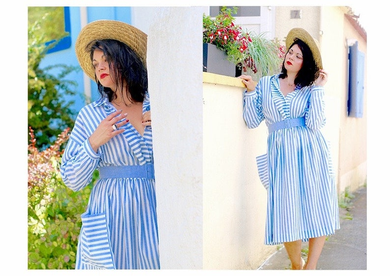 ccfba5dcf6b9 French Vintage 80 s chambray striped midi dress   Long sleeve light blue  vertical stripes belted shirt sun dress fit and ...