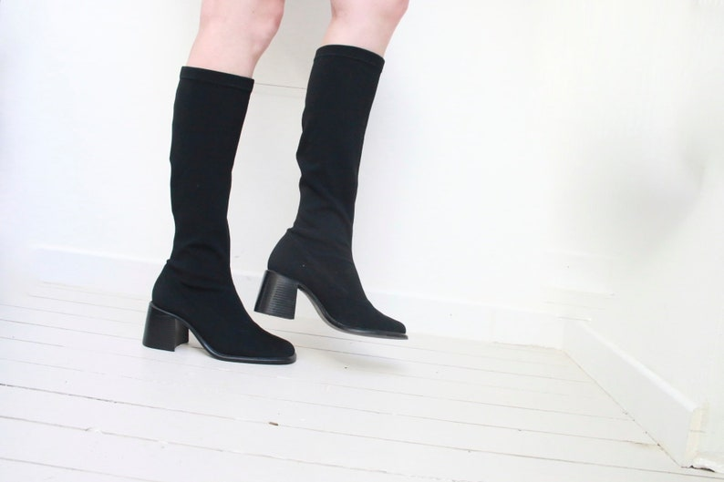 d44dad37dce1b 90s chunky block heel sock boots black synthetic stretch tall boots round  toe minimalist soft grunge retro 1990s size EU 40 US 8