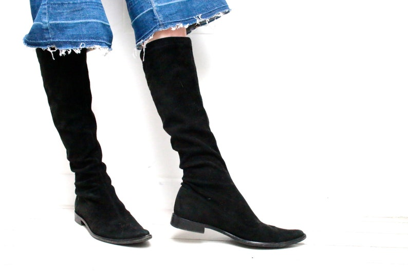 846b8aa2e9eec 90's black suede leather sock boots pointy toe tall boots 1990s does 60s  retro minimalist flat shoes EU 38 US 6.5