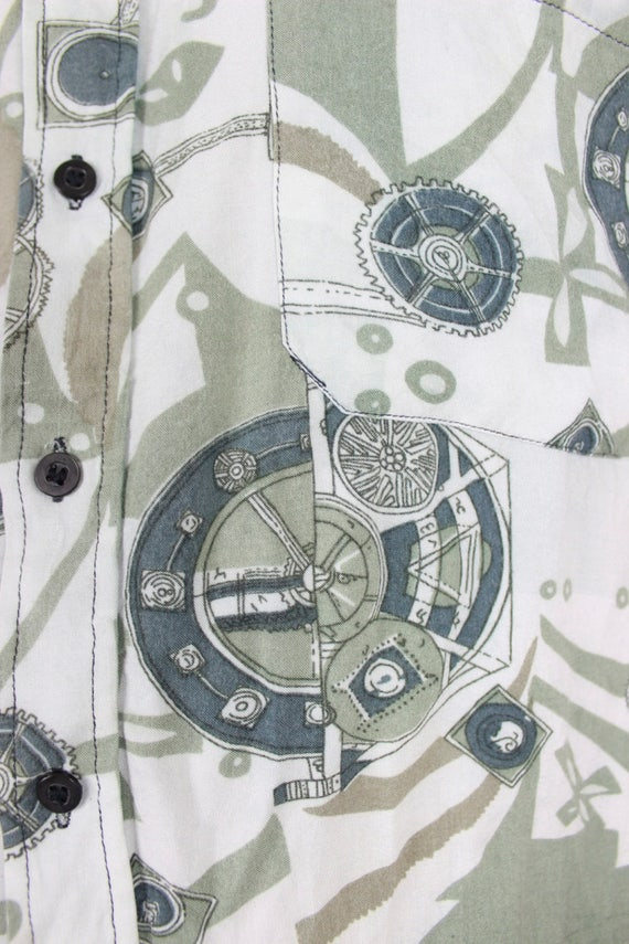 1980s Vintage Mens Retro Printed Printed Printed Summer Shirt / Novelty Print Pastel Green Patterned Short Sleeve Boho Hipster 80s 90s / Size Medium Large f718f4