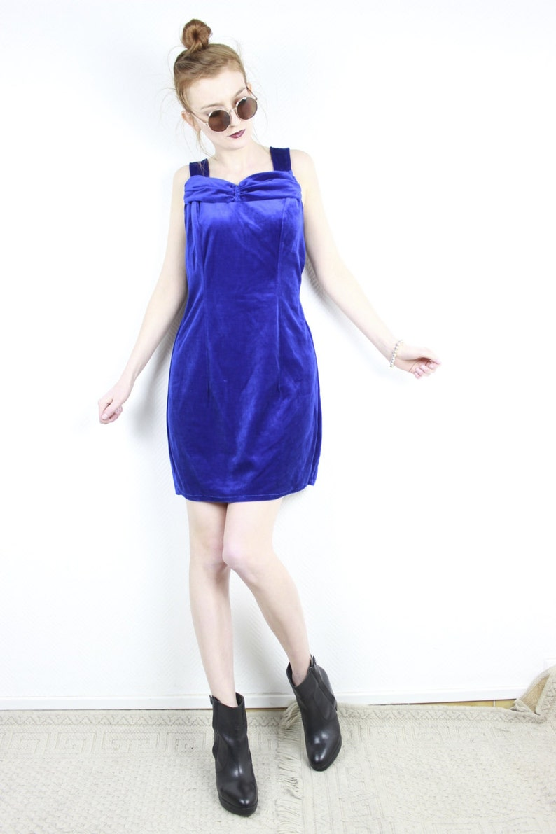 ab2a039c1df0 1990s vintage blue velvet dress / Sleeveless Royal blue mini | Etsy