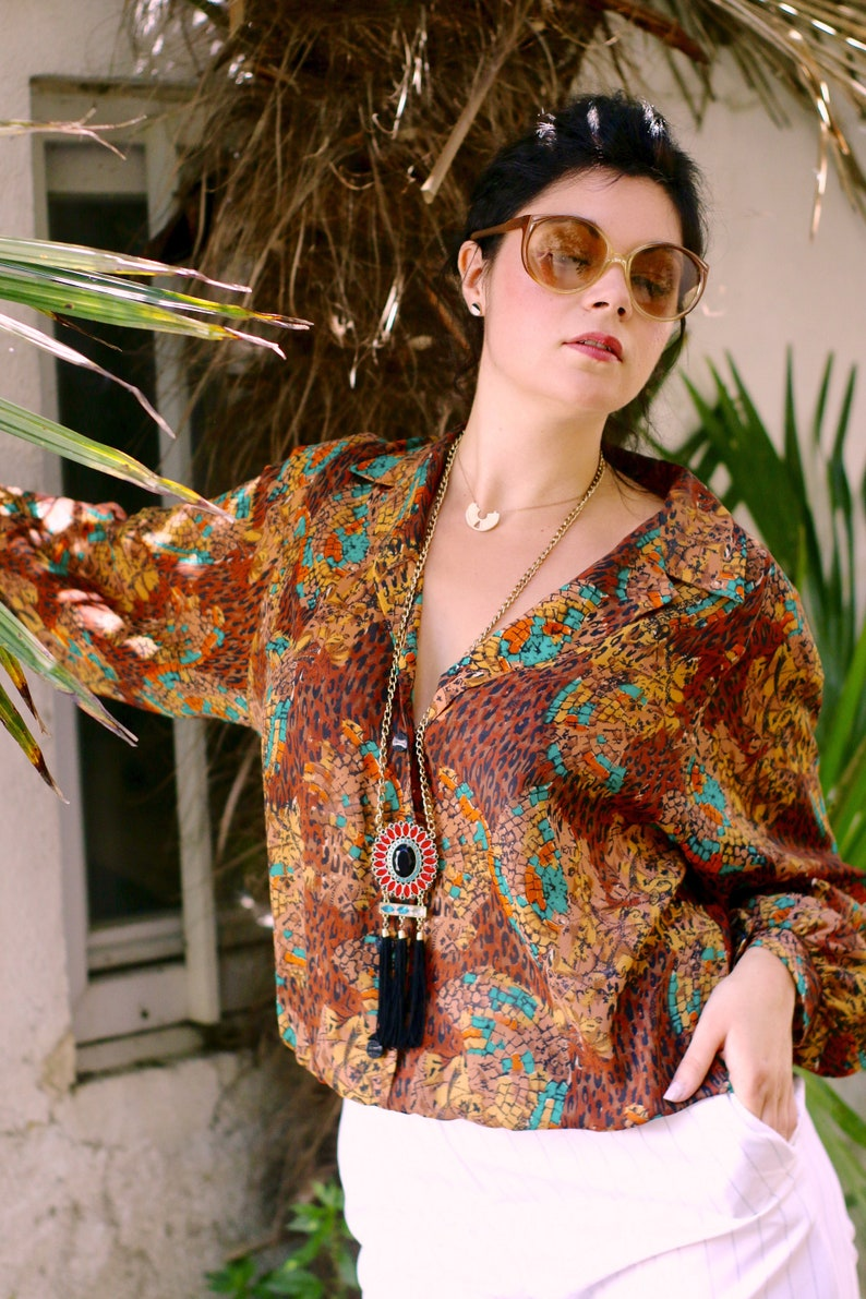 80s vintage slouchy blouse boho abstract print cinnamon brown cheetah polka art pattern oversized long sleeve 1980s shirt plus size XXL