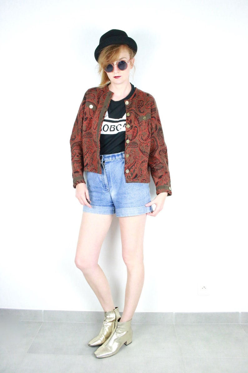 French Vintage paisley wool cardigan brick red gold button down patterned knit sweater tapestry retro boxy pullover jumper size Small