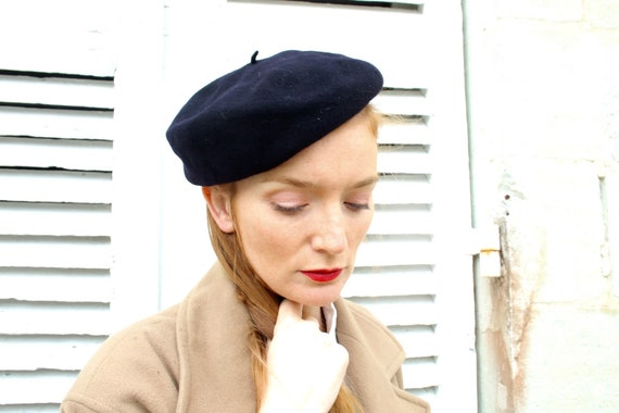 50s vintage french beret navy blue wool side beret