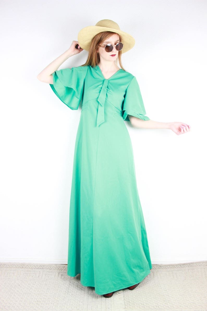 eae639b46cfd French vintage 70 s Pastel Green Maxi Dress 1970s Hippie