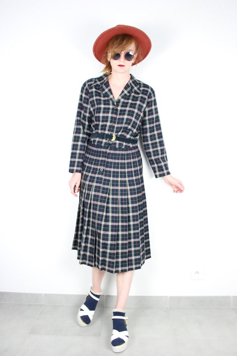 6eb5f019bcd2 French Vintage 1960s 70s plaid wool midi dress long sleeve and
