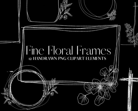 Hand drawn frames wedding birthday Invitation Transparent Png commercial use ClipArt Transparent PNG 12 Gold Fine Line Floral Foil Frame