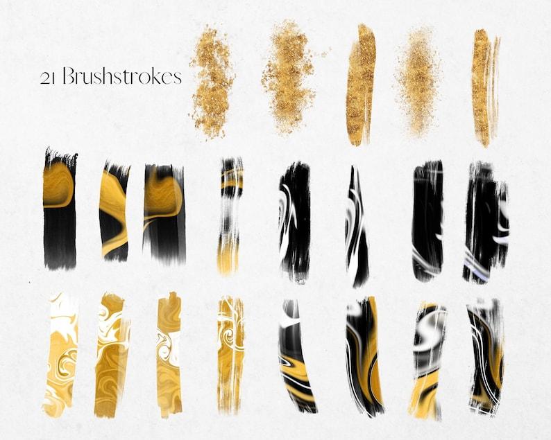 Swirling Monochrome Paint Clipart PNG Watercolour Paint Gold Brush Stroke Gold Glitter Clip Art Commercial Use Black White