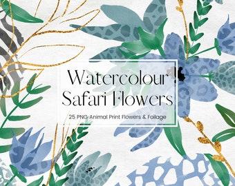 Safari Blue Watercolour Flower Clipart, Transparent PNG Floral Watercolour, Animal Print Pattern, Wedding Clipart, Commercial Use