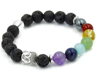 7 Chakra Bracelet |  Black Lava Rock Bracelet | 7 Gemstone Diffuser Bracelet | Chakra Stretch Bracelet | Aromatherapy Bracelet  | SGS015