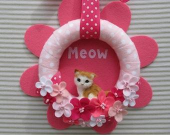 Cat Wreath, Kitty Wreath, Felt Flower Wreath, Pink Flower Wreath, Kitten Wreath, Meow Wreath, Spring Cat Wreath