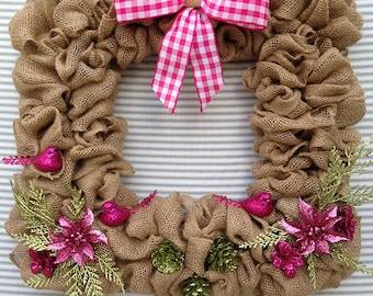 Burlap Wreath, Square Burlap Wreath, Square Spring Wreath, Pink Flower Wreath, Spring Wreath, Spring Burlap Wreath, Pink Wreath