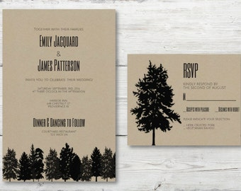 INSTANT DOWNLOAD Trees on Kraft paper fillable wedding invitations rustic wedding invitations phox prints nature printable downloadable