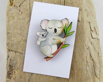 Mumma and Baby Koala Brooch