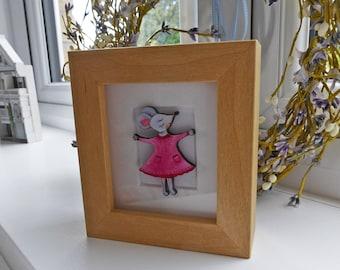 Girl Mouse Miniature Box Frame Art