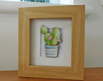 Cactus Miniature Box Frame Art