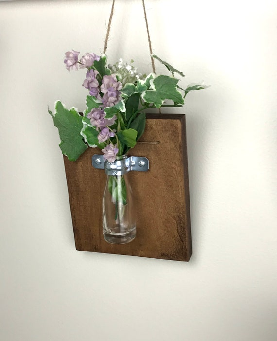 Wall Vase Sconce Farmhouse Wood Wall Vase Hanging Vase Bud Etsy