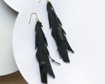 Bohemian feather earrings Black earrings Leather earrings Long earrings Statement earrings Bohemian jewelry Dangle earrings  Gift for women