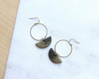 Minimalist earrings Polymer clay jewelry Black earrings Dangle earrings Open circle earrings Half moon earrings Gifts-for-sister