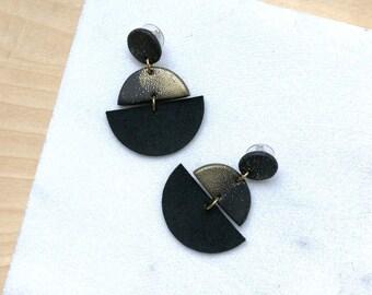 Statement earrings,leather earrings,polymer clay jewelry, long earrings, dangle earrings, black earrings, geometric earrings, gift for women