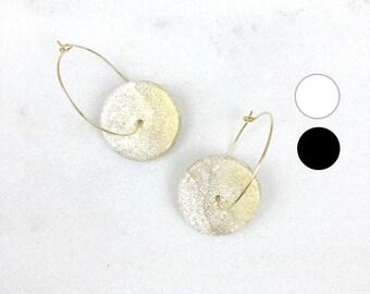 Gold hoops, gold hoop earrings, polymer clay jewelry, geometric earrings, minimalist earrings, thin gold hoop earrings, Gift for women