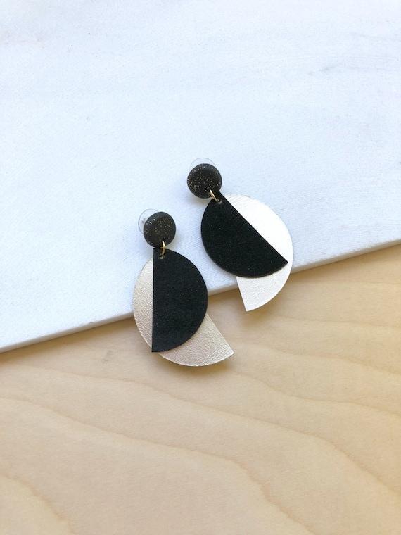 Statement Earrings Earrings for Women Long Dangle Earrings Statement Jewelry Chunky Earrings Leather Earrings Silver Black Earring